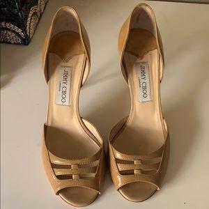 Nude patent leather Jimmy Choo heels